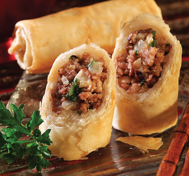 Ground Beef Phyllo Recipe: Meatloaf Shiitake Phyllo Rolls - Athens Foods