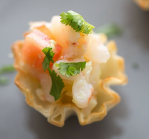 phyllo cocktail and mocktail combos - shrimp ceviche bites