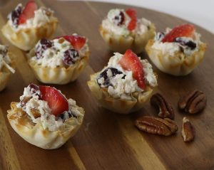sweet and tangy chicken salad phyllo cups - athens foods