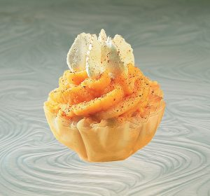 one pumpkin mousse phyllo shell