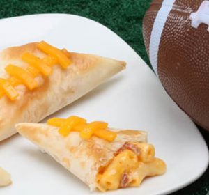game day appetizers - mac n cheese phyllo footballs on plate