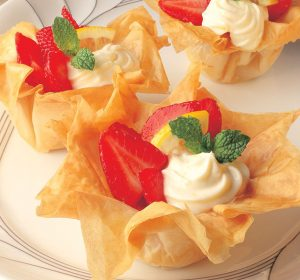 game day appetizers - group phyllo shells with strawberry cream filling