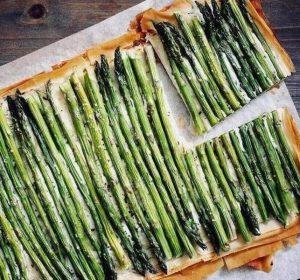 valentine's day - asparagus ricotta phyllo tart