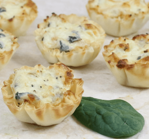 spinach & phyllo- Creamy Chicken Spinach Cups