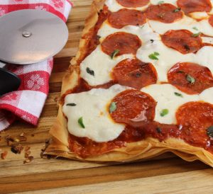 phyllo pepperoni pizza