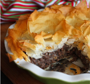 spiced meat pie with phyllo crust - tourtiere