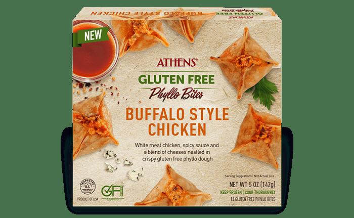 gluten free phyllo bites - buffalo style chicken