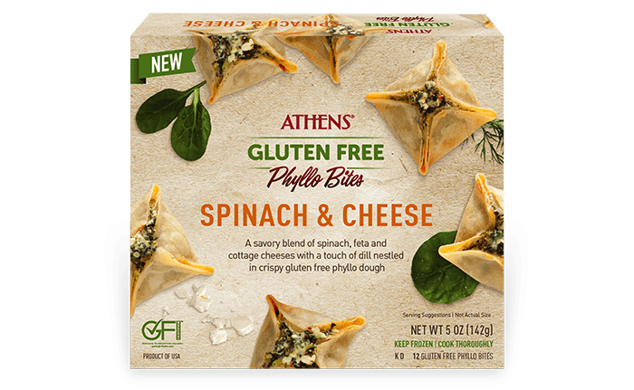 spinach and cheese gluten free phyllo bites