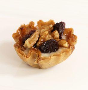 pecan cherry vodka brie phyllo bites - phyllo kitchen blog - chocolate and graham cracker