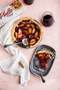 vegan black plum pie