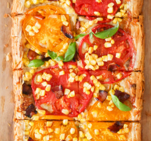 summer tart with tomatoes, corn and bacon - essential recipe