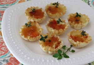 snack - brie and red pepper jelly bites
