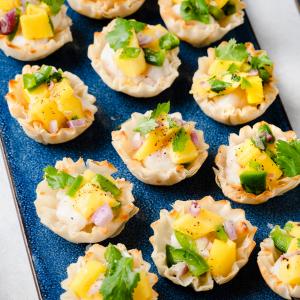 Summer Phyllo Shell Recipe - Scallop Ceviche with Mango Salsa Cups