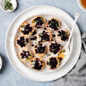 Summer Phyllo Shell Recipe - Blueberry Thyme Goat Cheese Cups