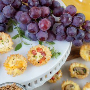 Easy Mini Quiches on Platter with Grapes
