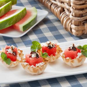 No-Bake Recipe - Watermelon & Feta Phyllo Cups