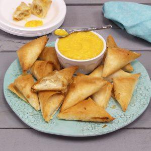 air fryer recipe - tropical triangles phyllo mango